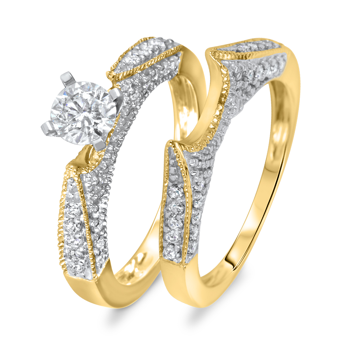 1 ct t w diamond women 39 s bridal wedding ring set 14k yellow gold my trio rings br103y14k r050. Black Bedroom Furniture Sets. Home Design Ideas