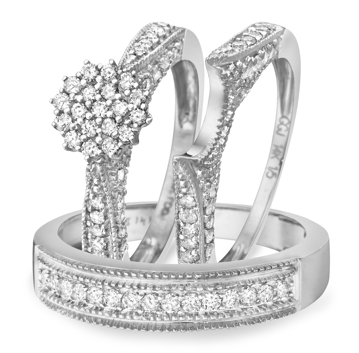 white gold wedding ring sets 1 1 carat diamond trio wedding ring set 14k white gold 1335