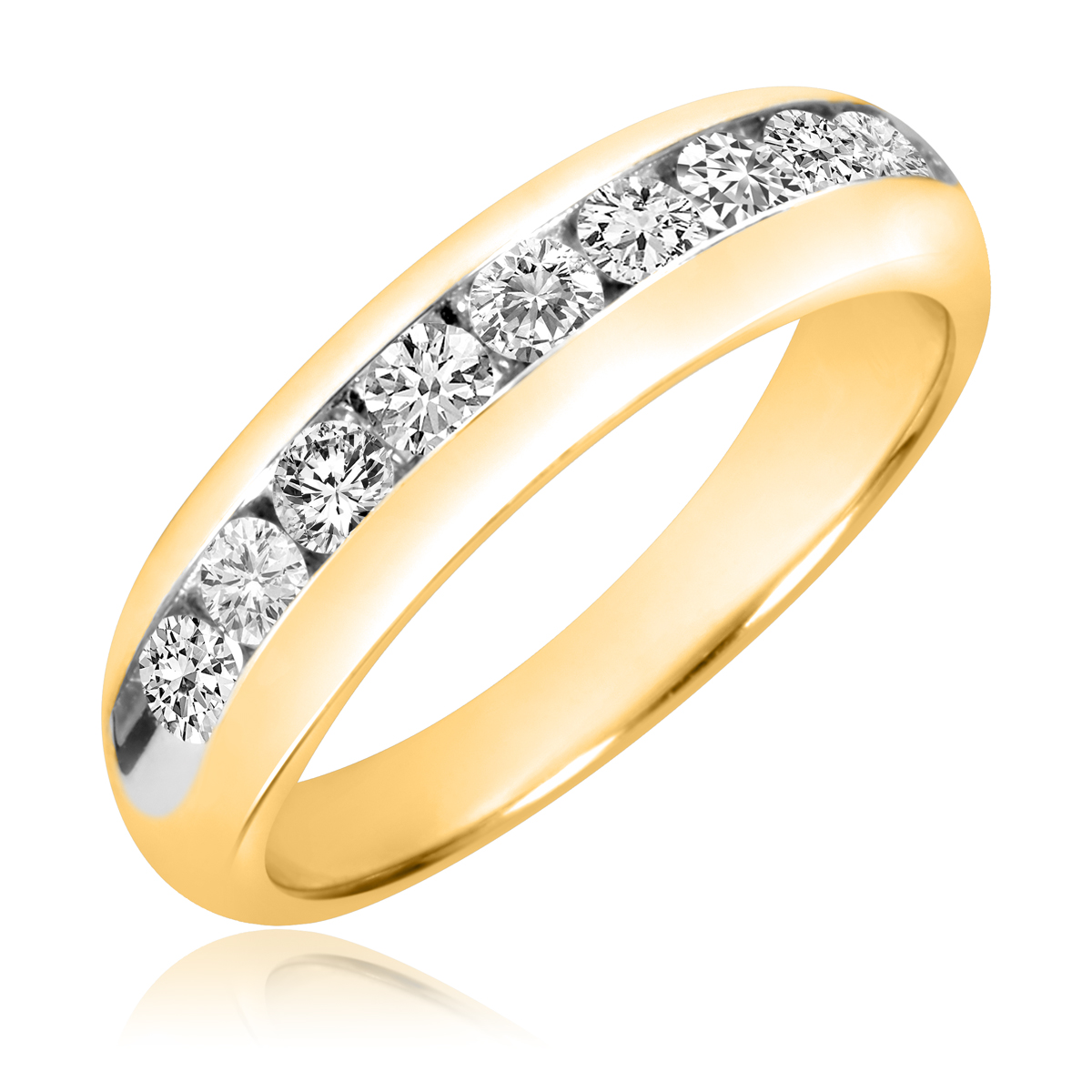 1 carat t w diamond men 39 s wedding band 10k yellow gold for Men s 1 carat diamond wedding bands