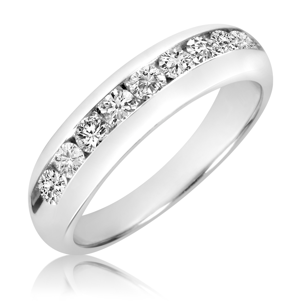 1 Carat TW Diamond Mens Wedding Band 14K White Gold