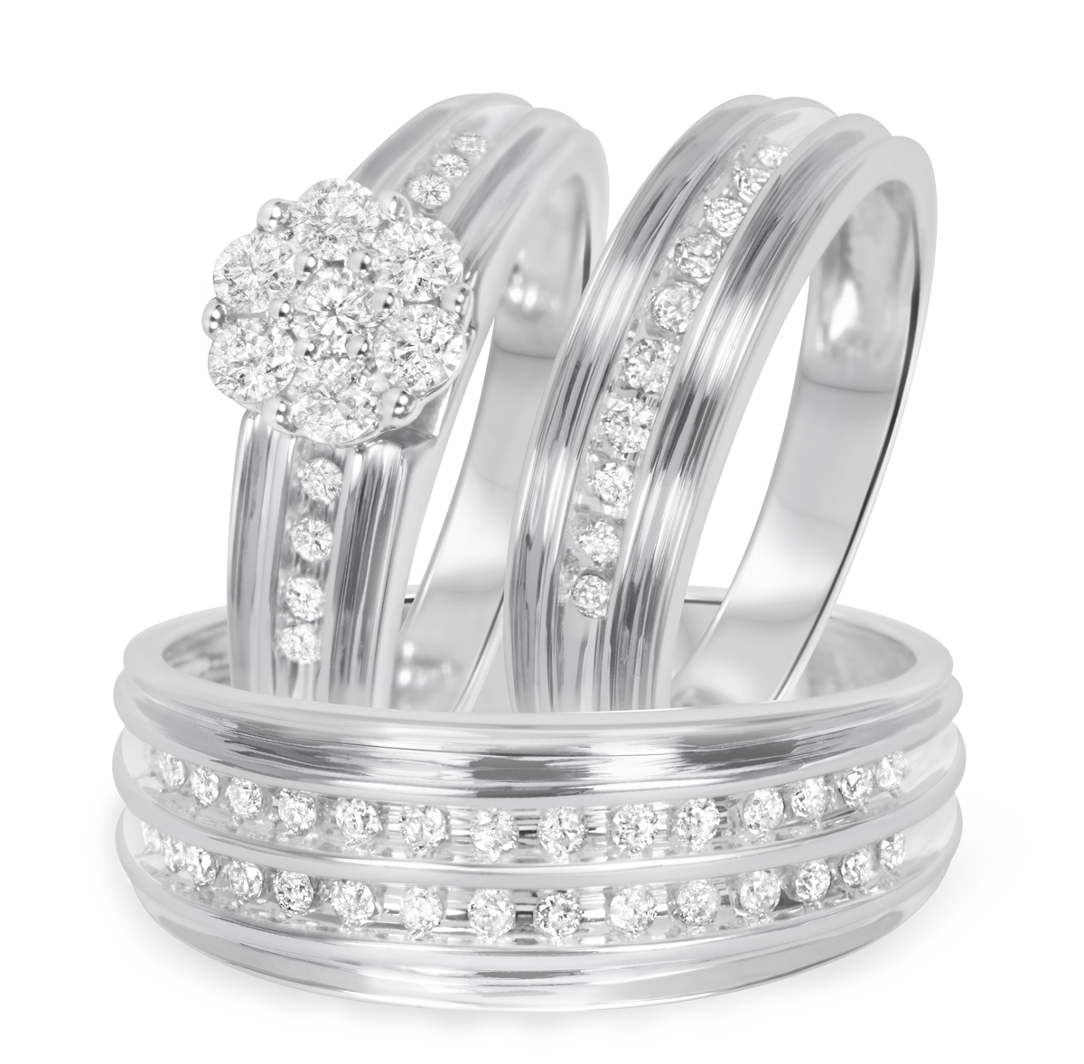 1 carat tw diamond trio matching wedding ring set 10k for Wedding ring sets white gold
