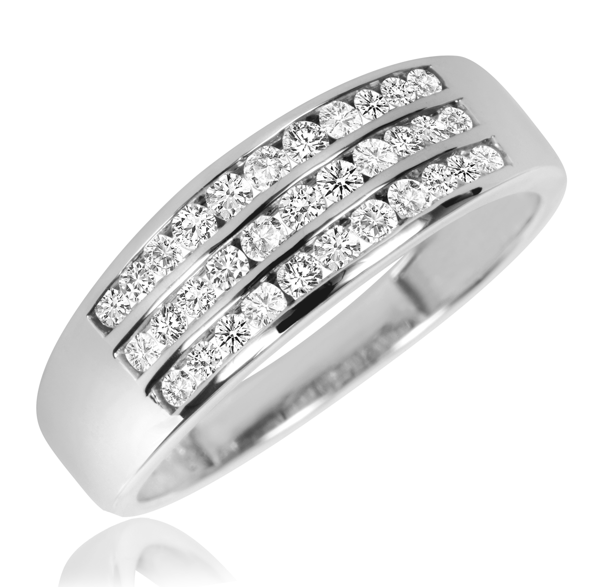 Tw Diamond Ladies Engagement Ring, Wedding Band, Men's Wedding Band  Matching Set 14k White Gold  My Trio Rings  Bt700w14kr100