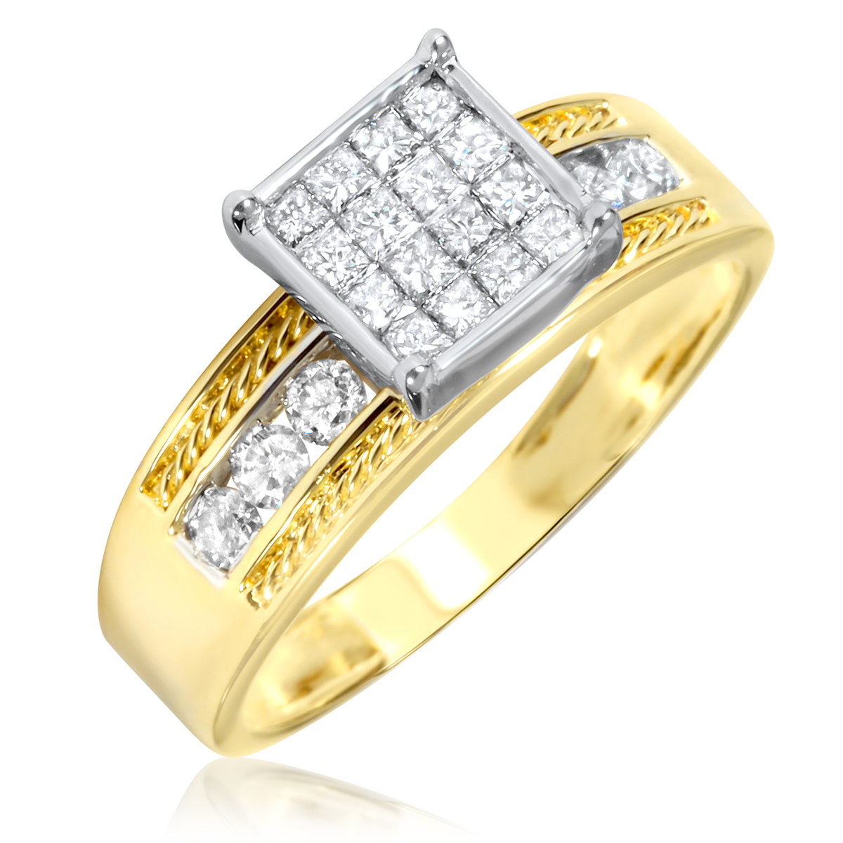 2 3 Carat T W Diamond Women s Engagement Ring 10K Yellow Gold