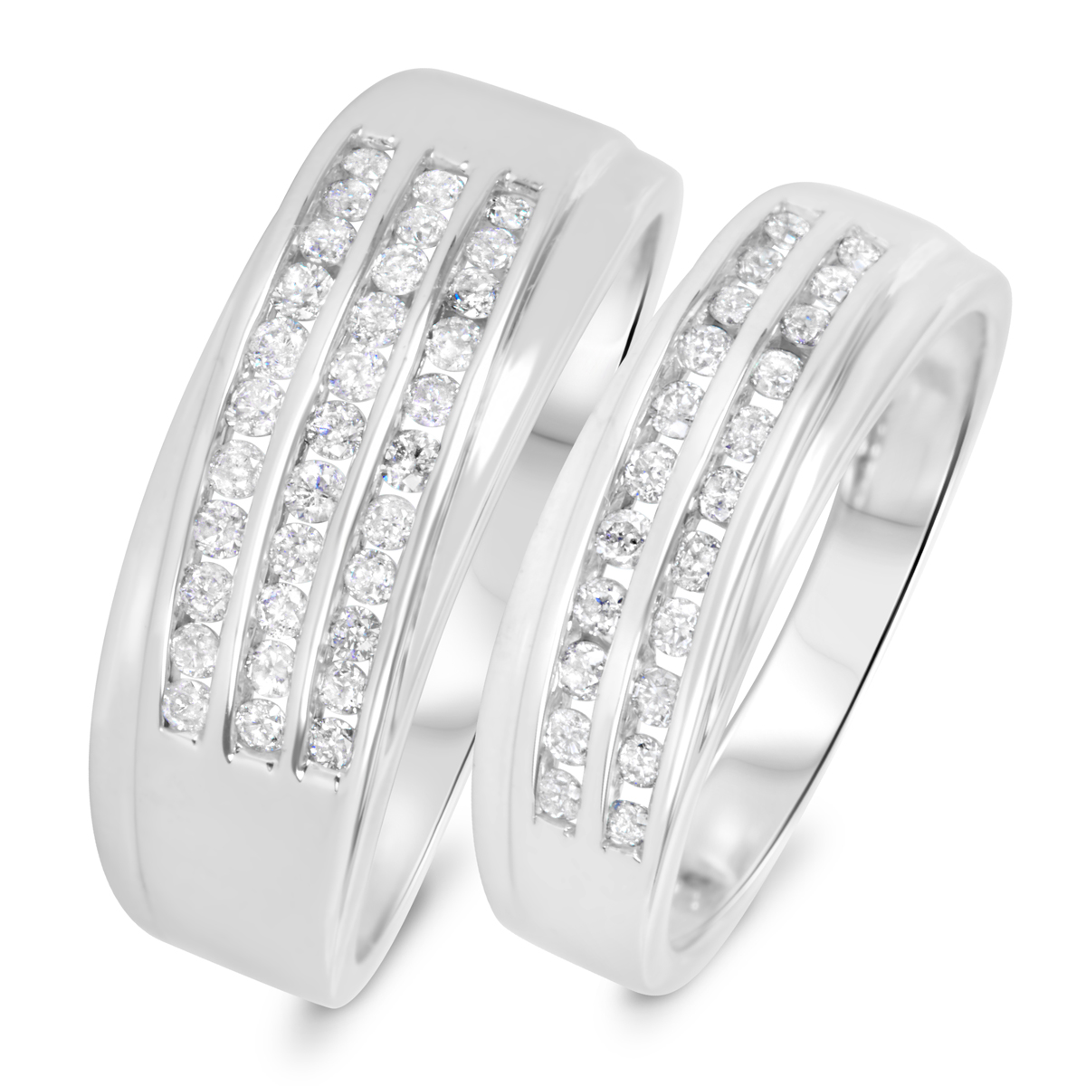tw diamond his and hers wedding band set 10k white gold my trio rings wb511w10k - Wedding Ring Set His And Hers
