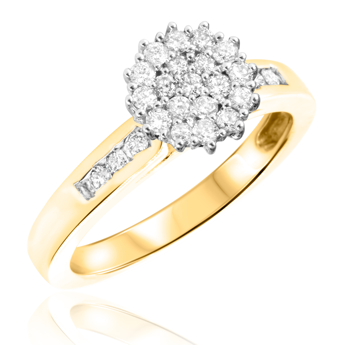 1 2 CT T W Diamond Women s Bridal Wedding Ring Set 10K Yellow Gold