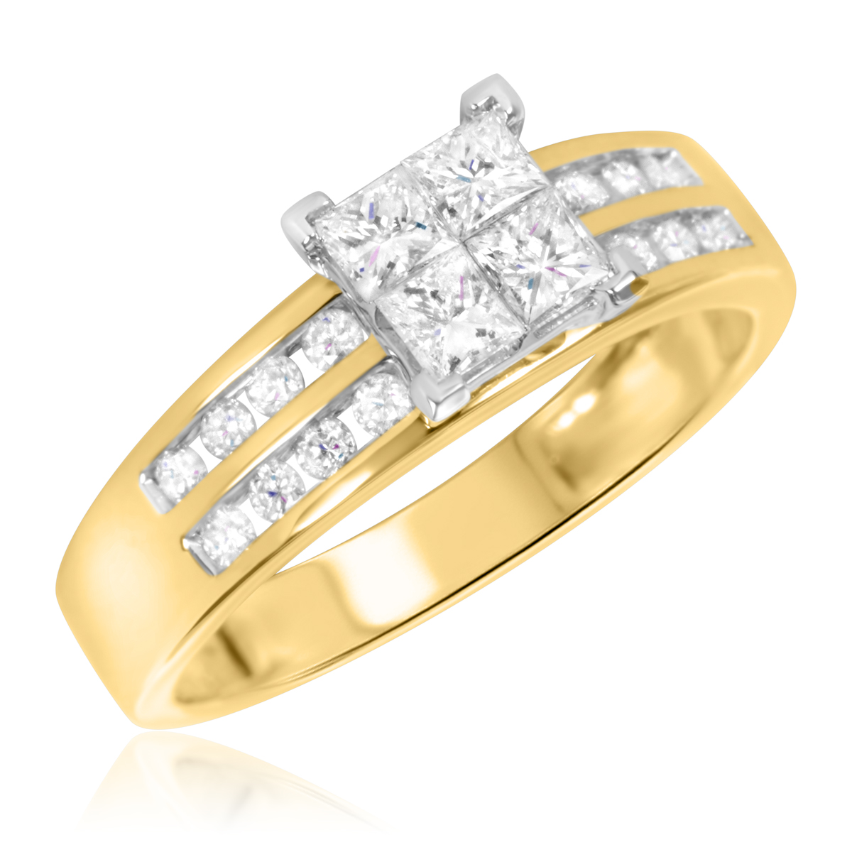 1 CT T W Diamond La s Bridal Wedding Ring Set 10K Yellow Gold