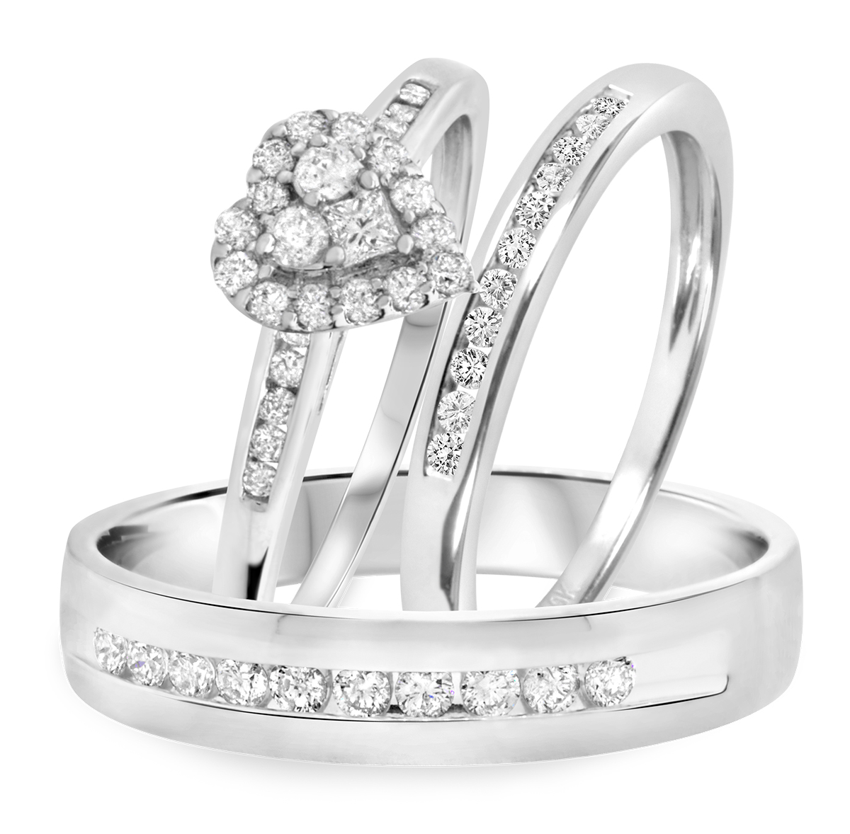 Carat T.W. Diamond Trio Matching Wedding Ring Set 14K White Gold