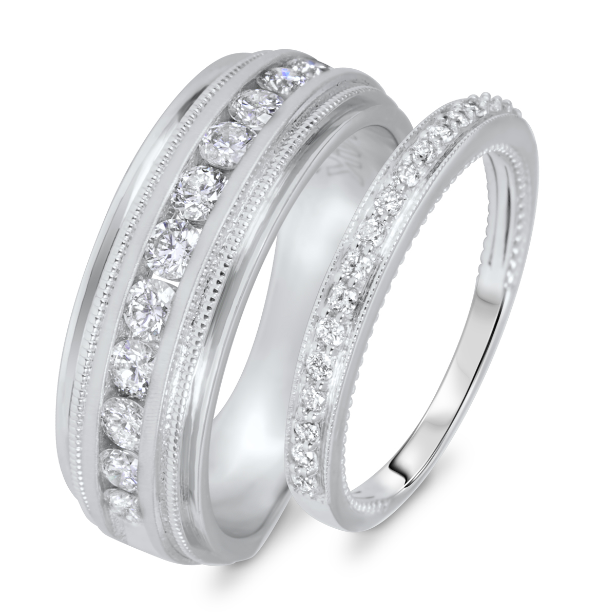 3 4 Carat TW Round Cut Diamond His And Hers Wedding Band