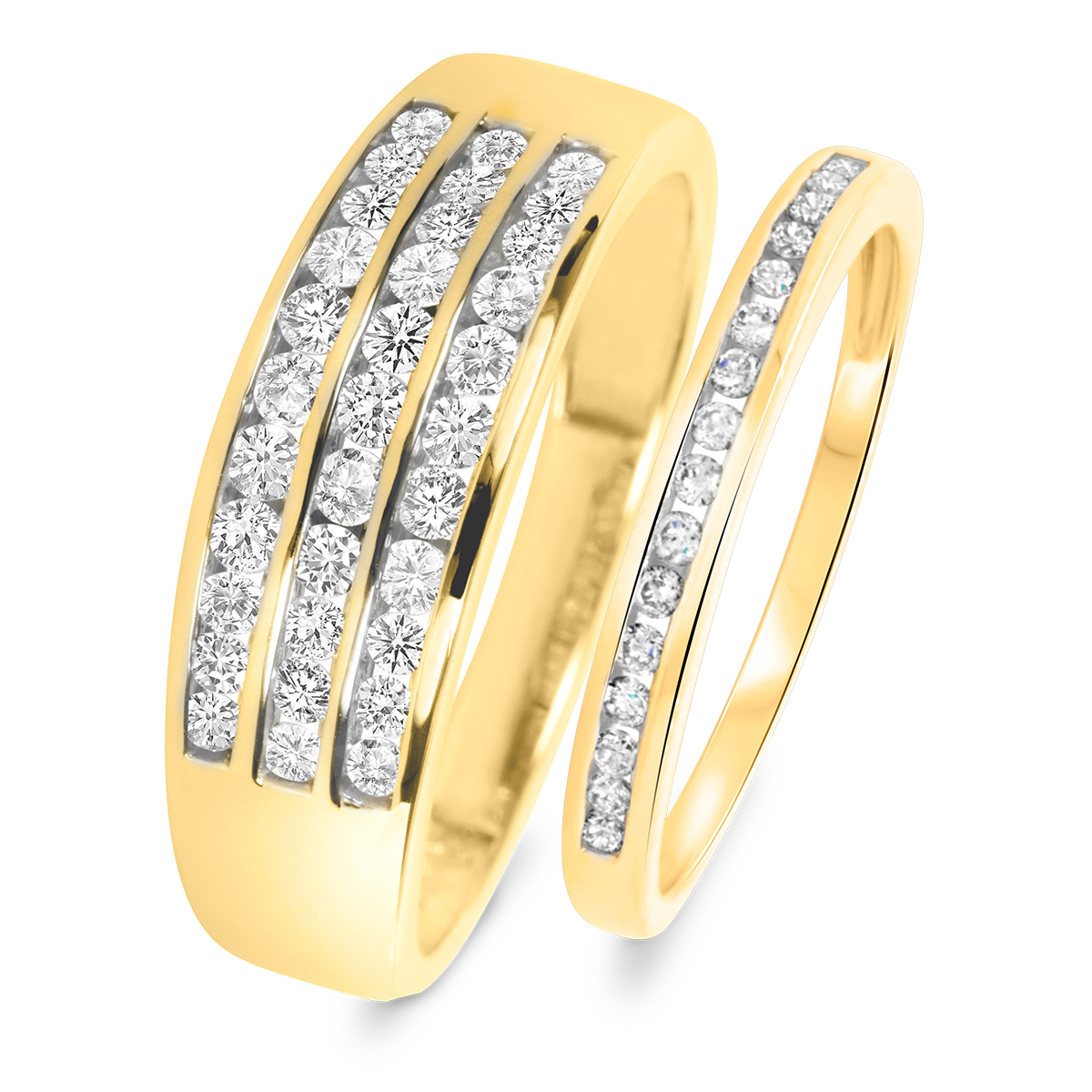 3 4 Carat TW Round Cut Diamond His And Hers Wedding Band Set 10K Yellow Gold
