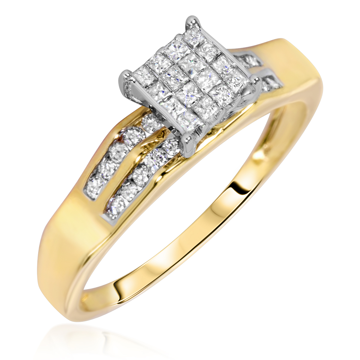3 8 CT T W Diamond La s Engagement Ring 10K Yellow Gold