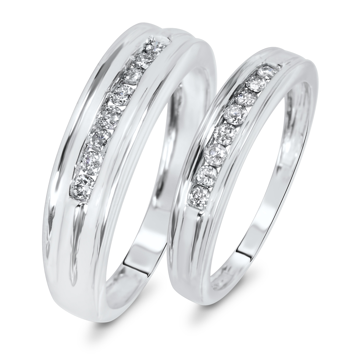 CT. T.W. Diamond Matching Wedding Band Set 10K White Gold