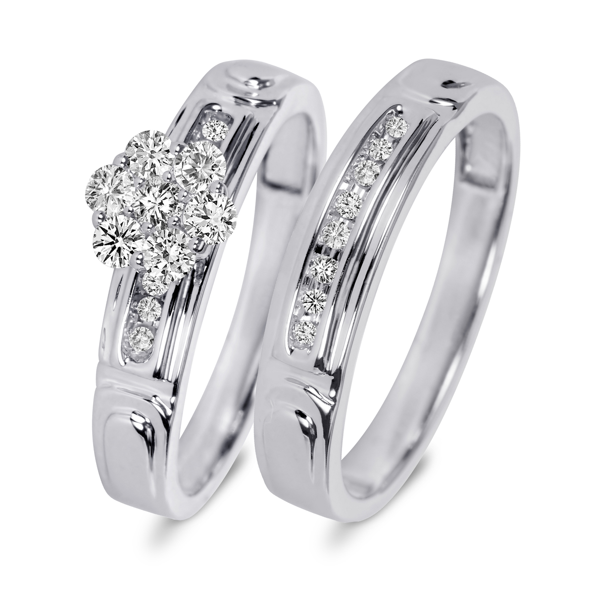 tw diamond womens bridal wedding ring set 10k white gold my trio rings br504w10k - White Gold Wedding Rings Sets