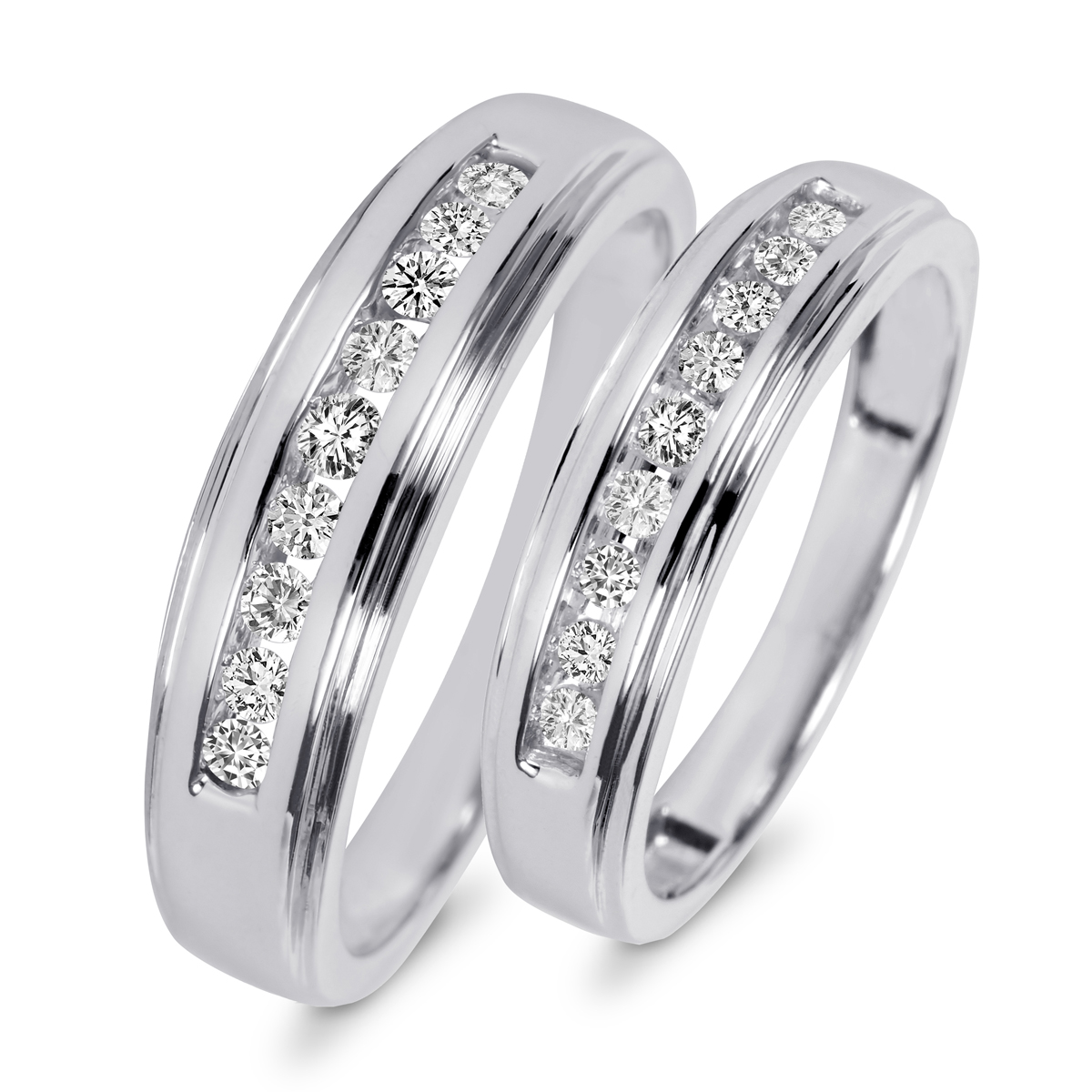 3 8 carat t w diamond his and hers wedding band set 10k