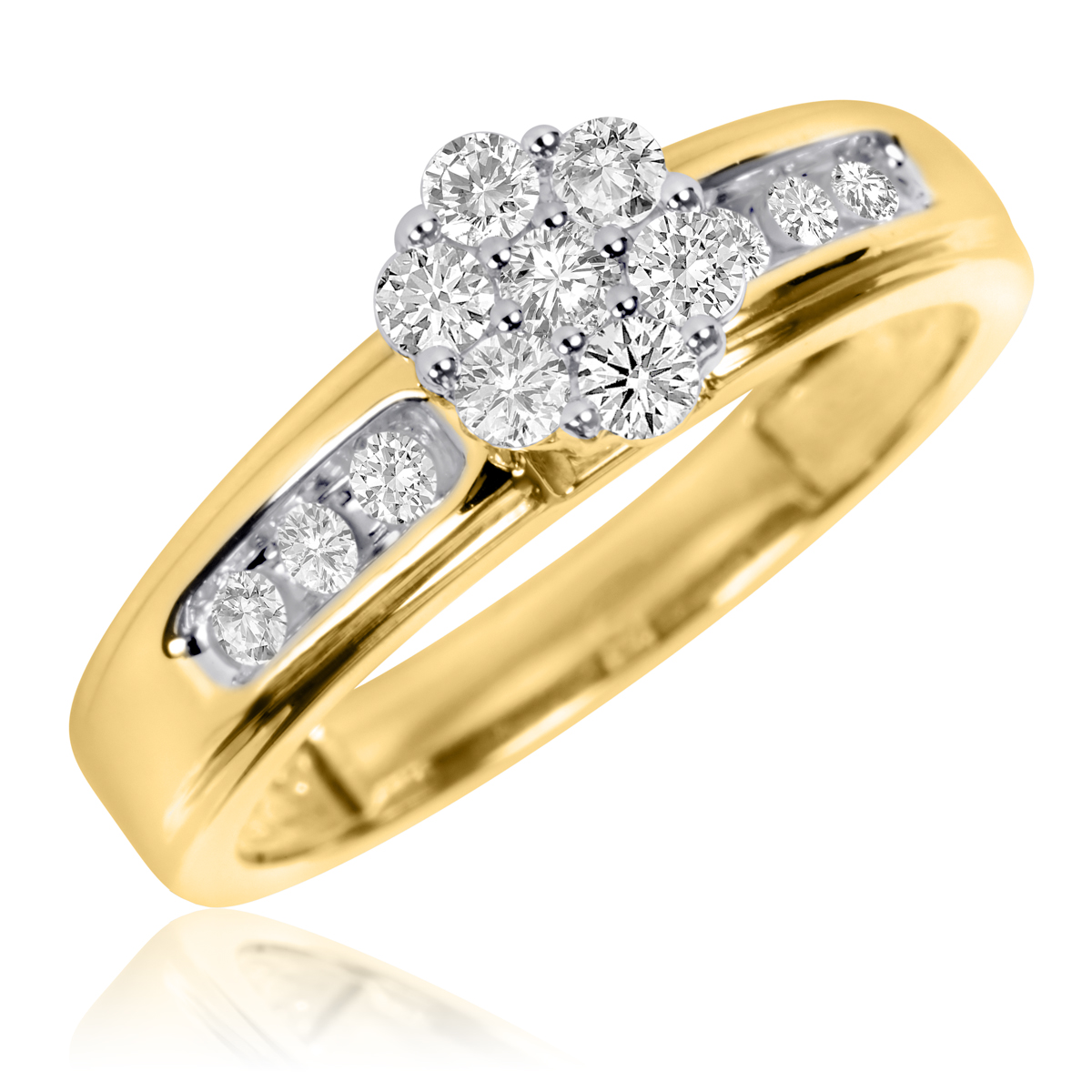 3 8 carat t w diamond ladies 39 engagement ring 10k yellow. Black Bedroom Furniture Sets. Home Design Ideas