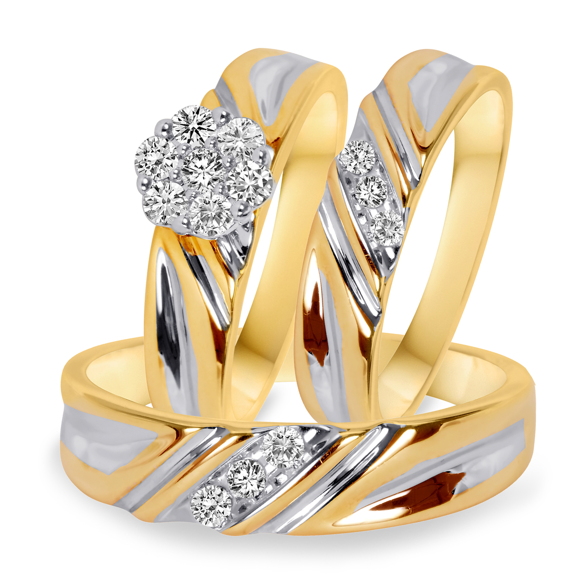 38 carat tw diamond trio matching wedding ring set 10k yellow gold my trio rings bt508y10k - Gold Wedding Ring Sets