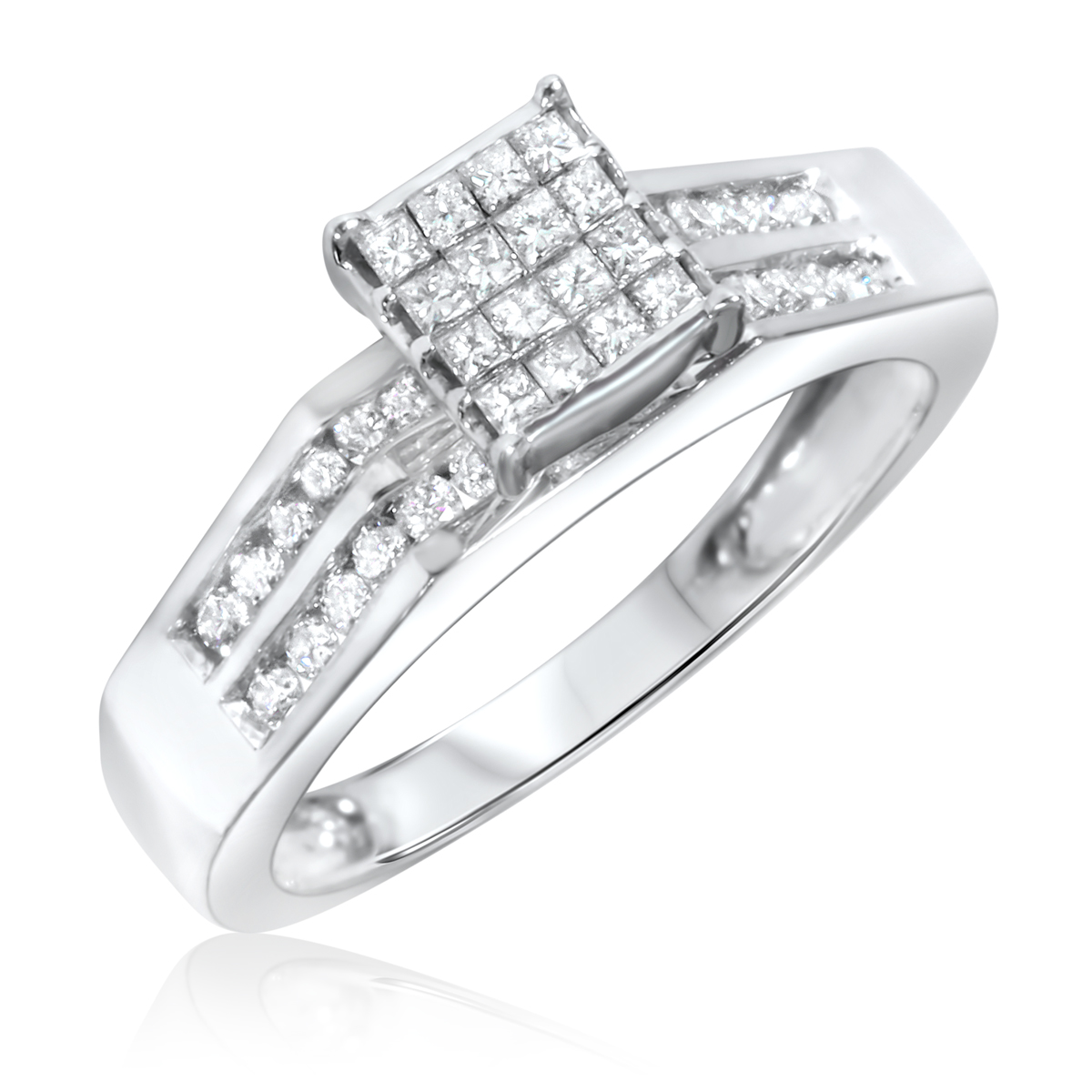 1 carat diamond trio wedding ring set 14k white gold my trio rings bt111w14k - Engagement And Wedding Ring Set