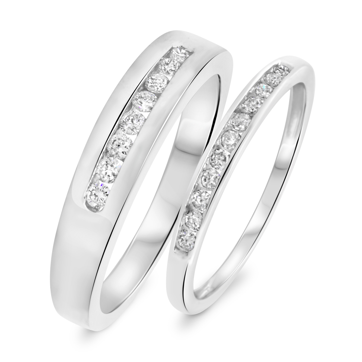 1 3 8 carat t w round cut diamond his and hers wedding