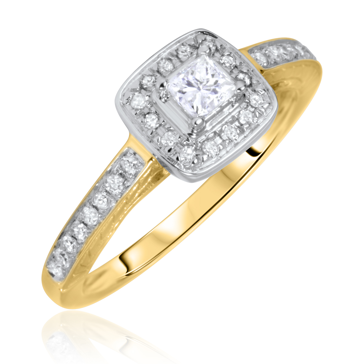 3/8 Carat T.W. Solitaire, Princess Cut Diamond Engagement