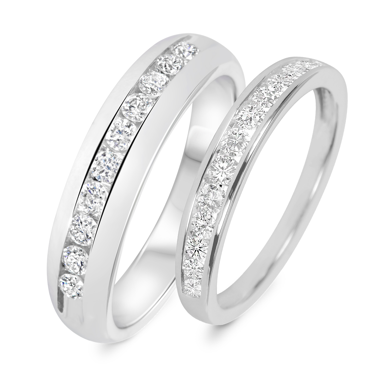 7 8 carat t w his and hers wedding band set 14k