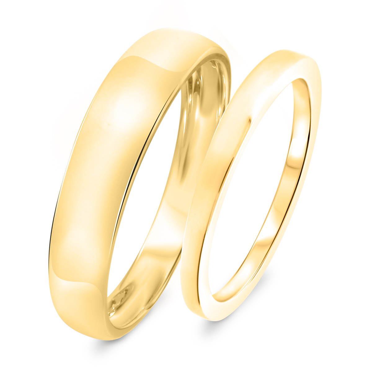 Traditional Wedding Band Set 10K Yellow Gold My Trio Rings
