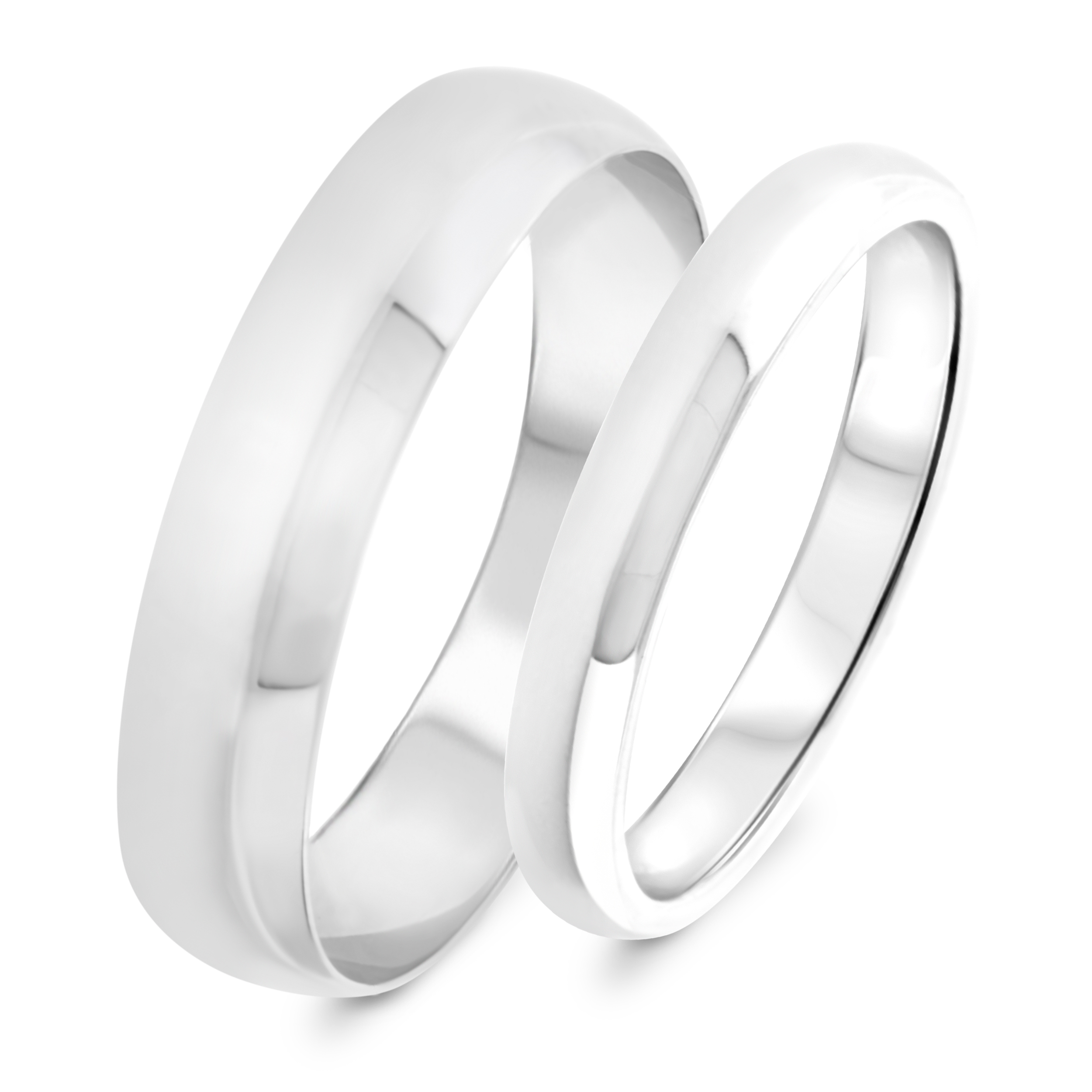 Traditional Wedding Band Set 14K White Gold My Trio Rings