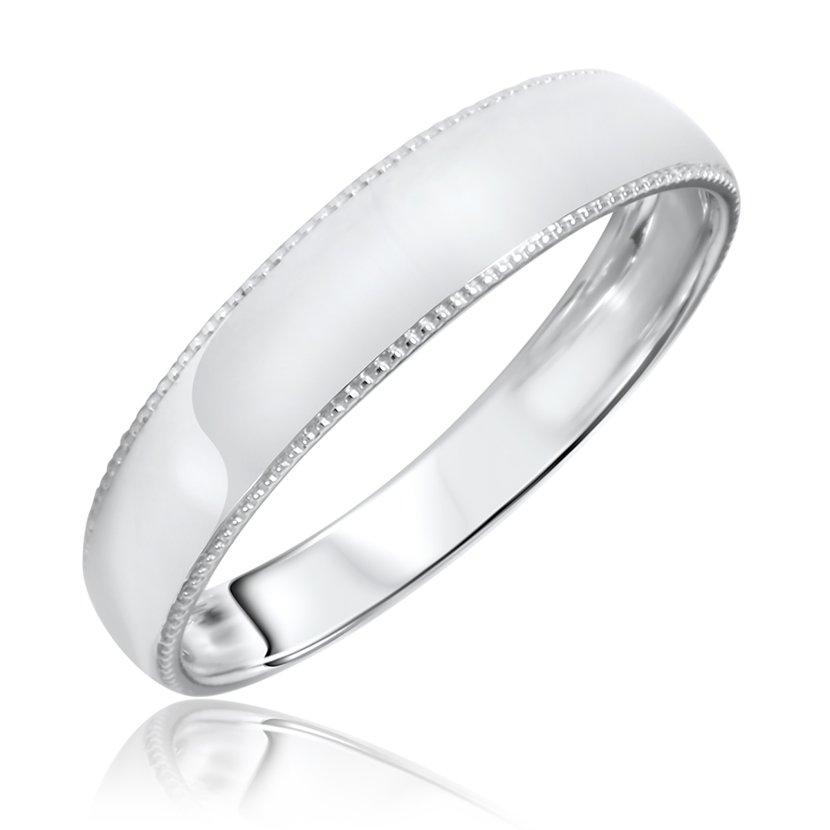 Mens Wedding Band 10K White Gold