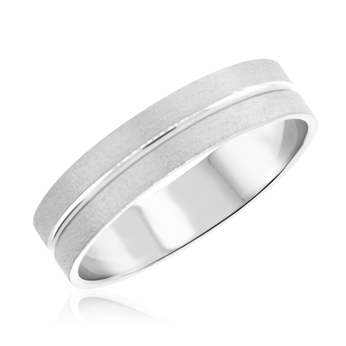 No DiamondsTraditional Mens Wedding Band 14K White Gold