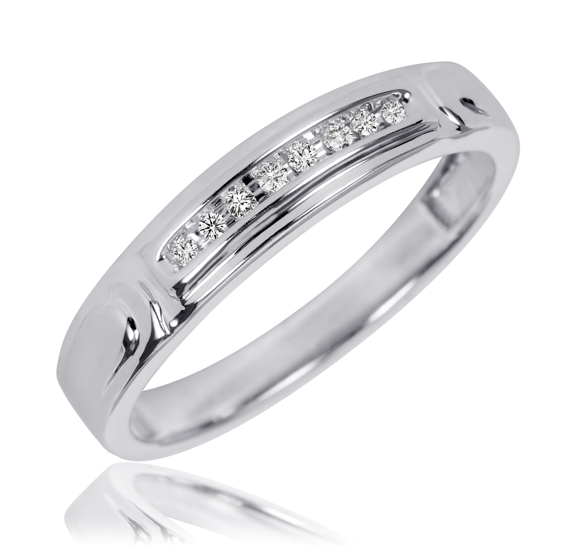1 10 CT TW Diamond His And Hers Wedding Rings 10K White