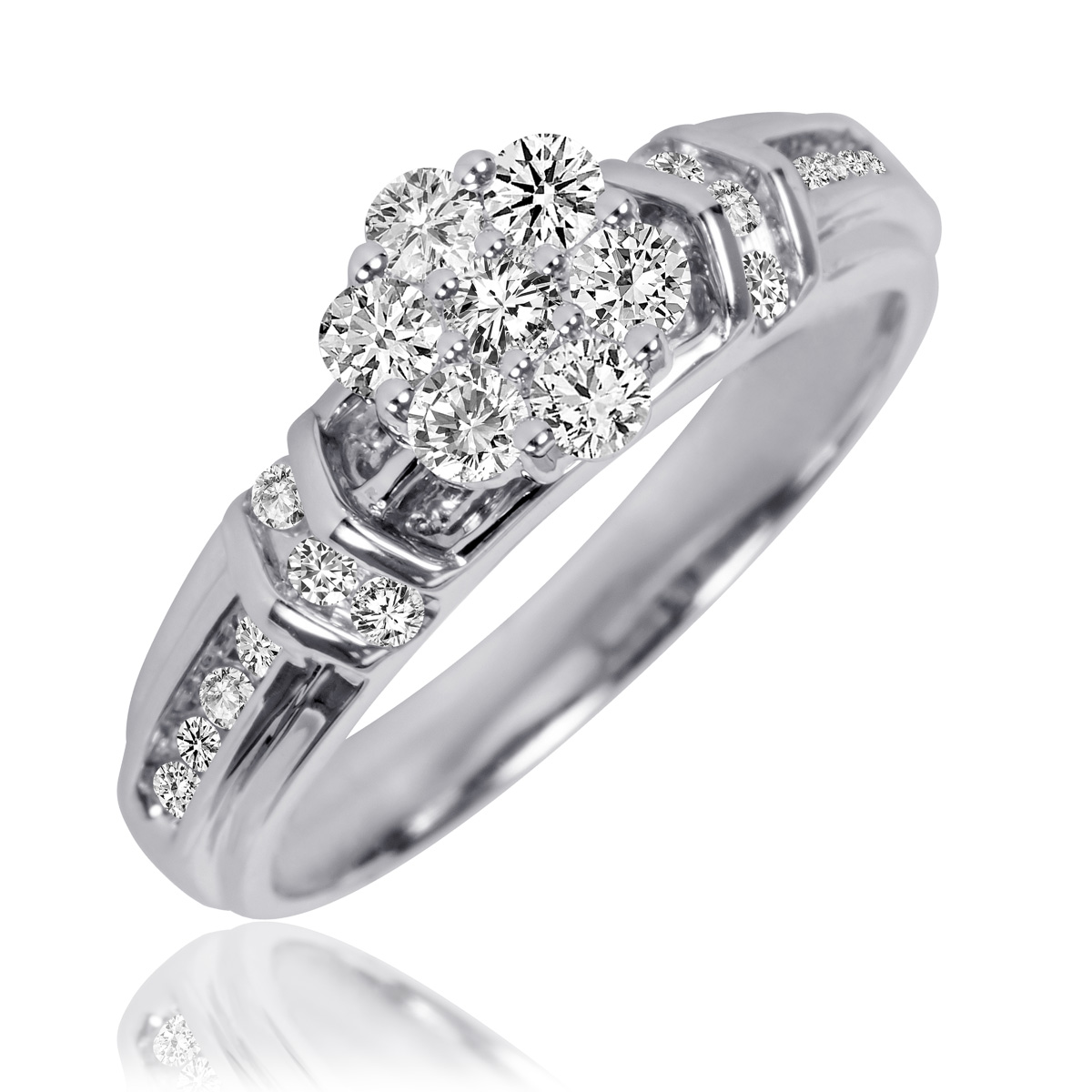 1 1 10 carat t w diamond trio matching wedding ring set. Black Bedroom Furniture Sets. Home Design Ideas