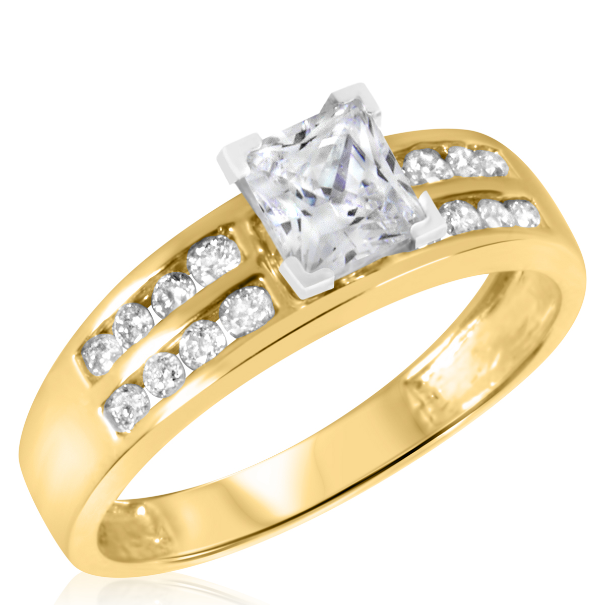 1 1 2 CT T W Diamond Women s Bridal Wedding Ring Set 10K Yellow Gold