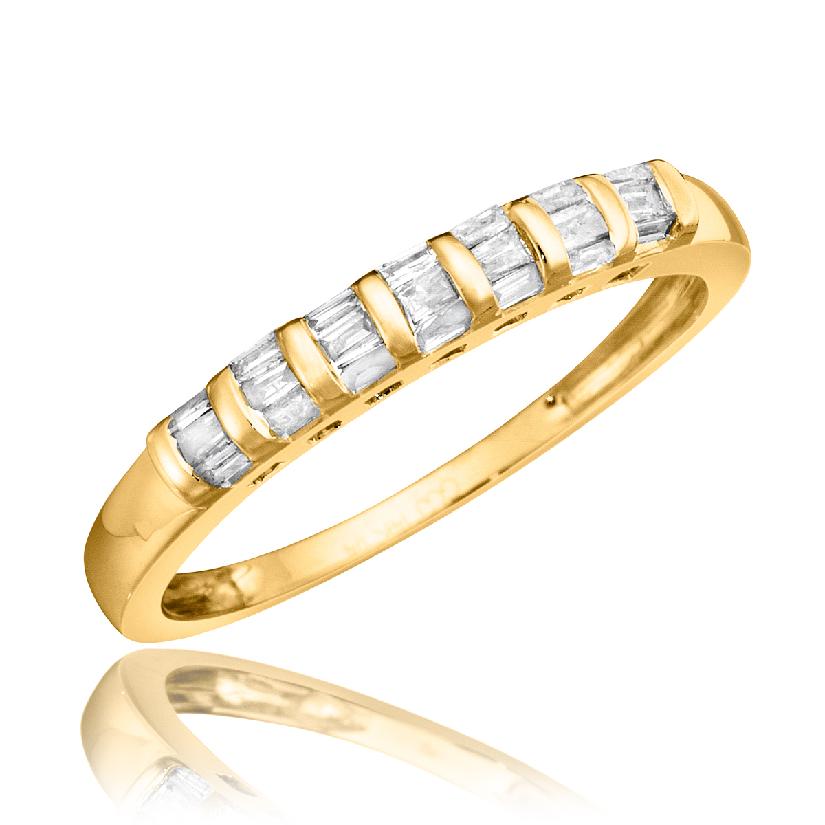 1 2 Carat T W Diamond His And Hers Wedding Band Set 10K Yellow Gold My Tri