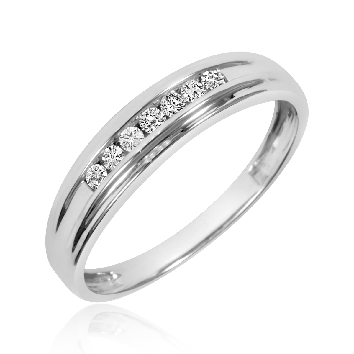1 3 CT TW Diamond His And Hers Wedding Band Set 10K White Gold