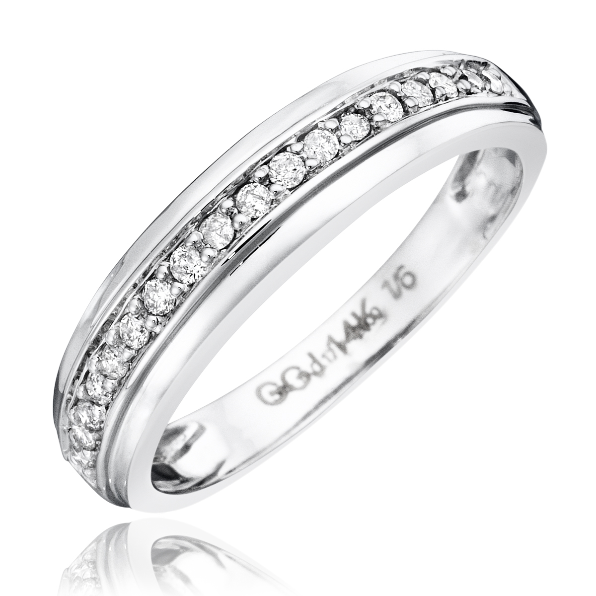 1 3 CT TW Diamond His And Hers Wedding Rings 14K White