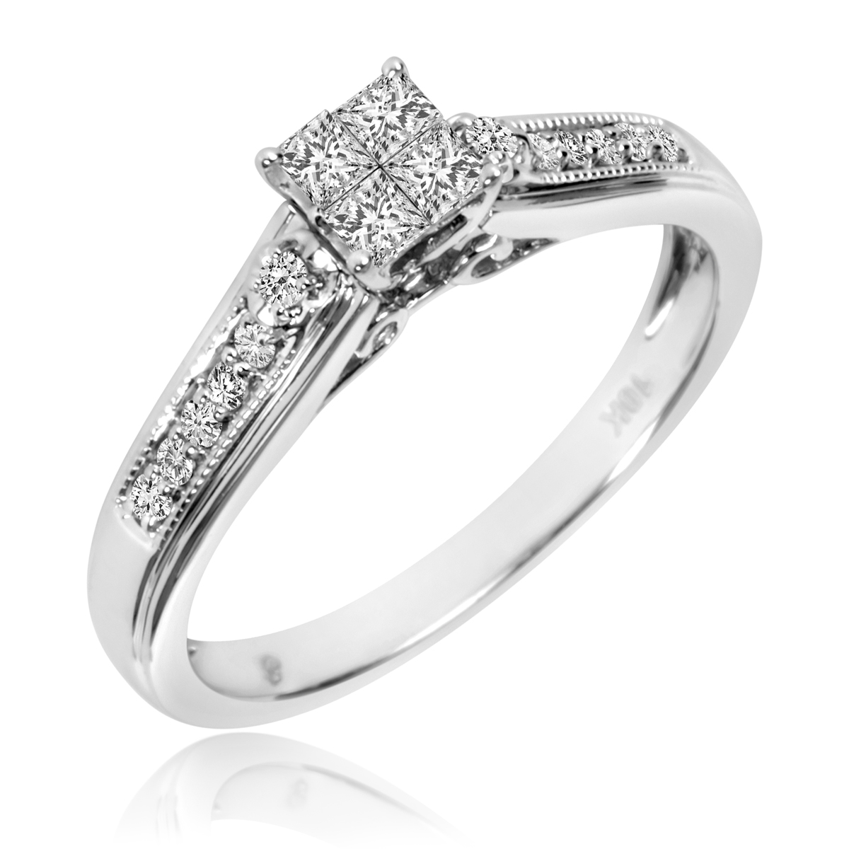 1 3 carat tw diamond ladies39 bridal wedding ring set 10k for Wedding ring sets white gold