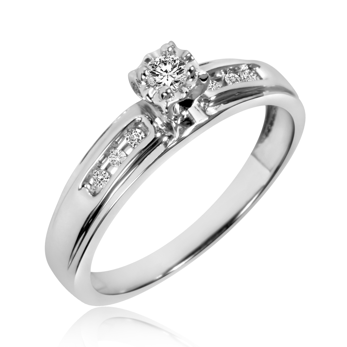 1 5 ct tw diamond ladies39 bridal wedding ring set 14k for Ladies diamond wedding ring sets