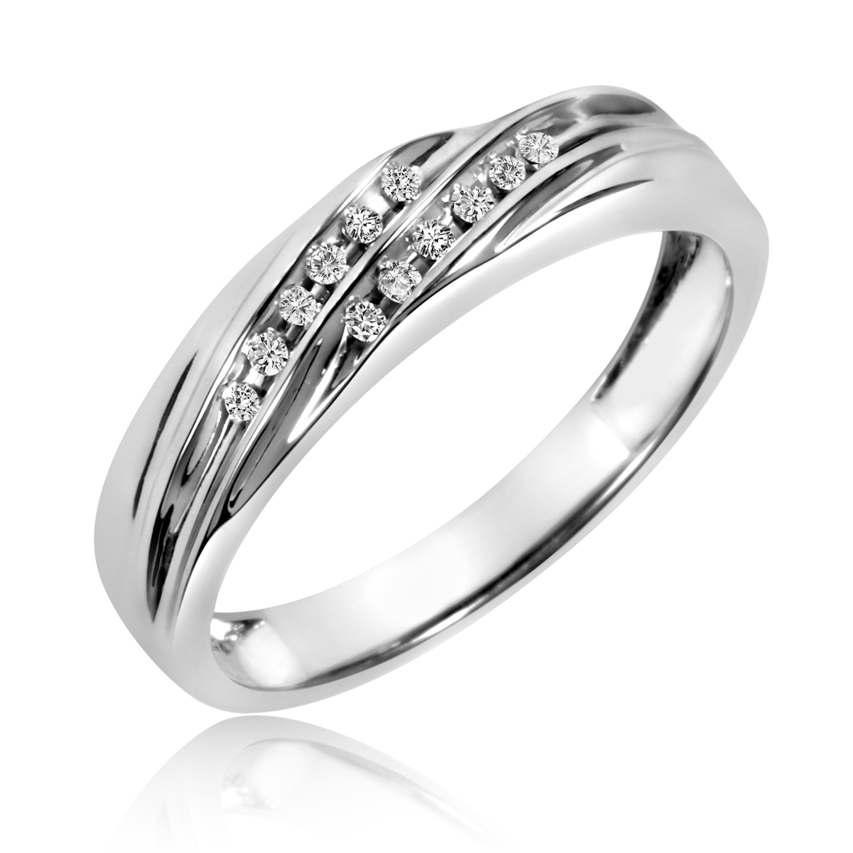 1 7 carat t w his and hers wedding band set 14k