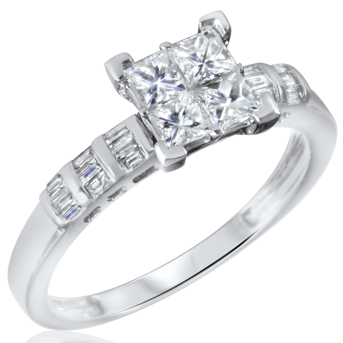 1 CT TW Diamond Womens Bridal Wedding Ring Set 10K White Gold