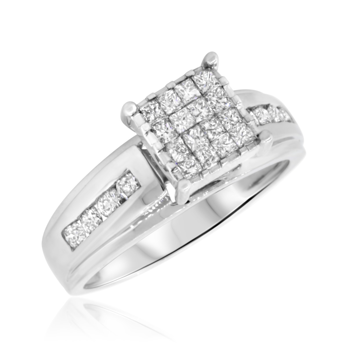 1 carat diamond bridal wedding ring set 14k white gold With 14 carat white gold wedding rings