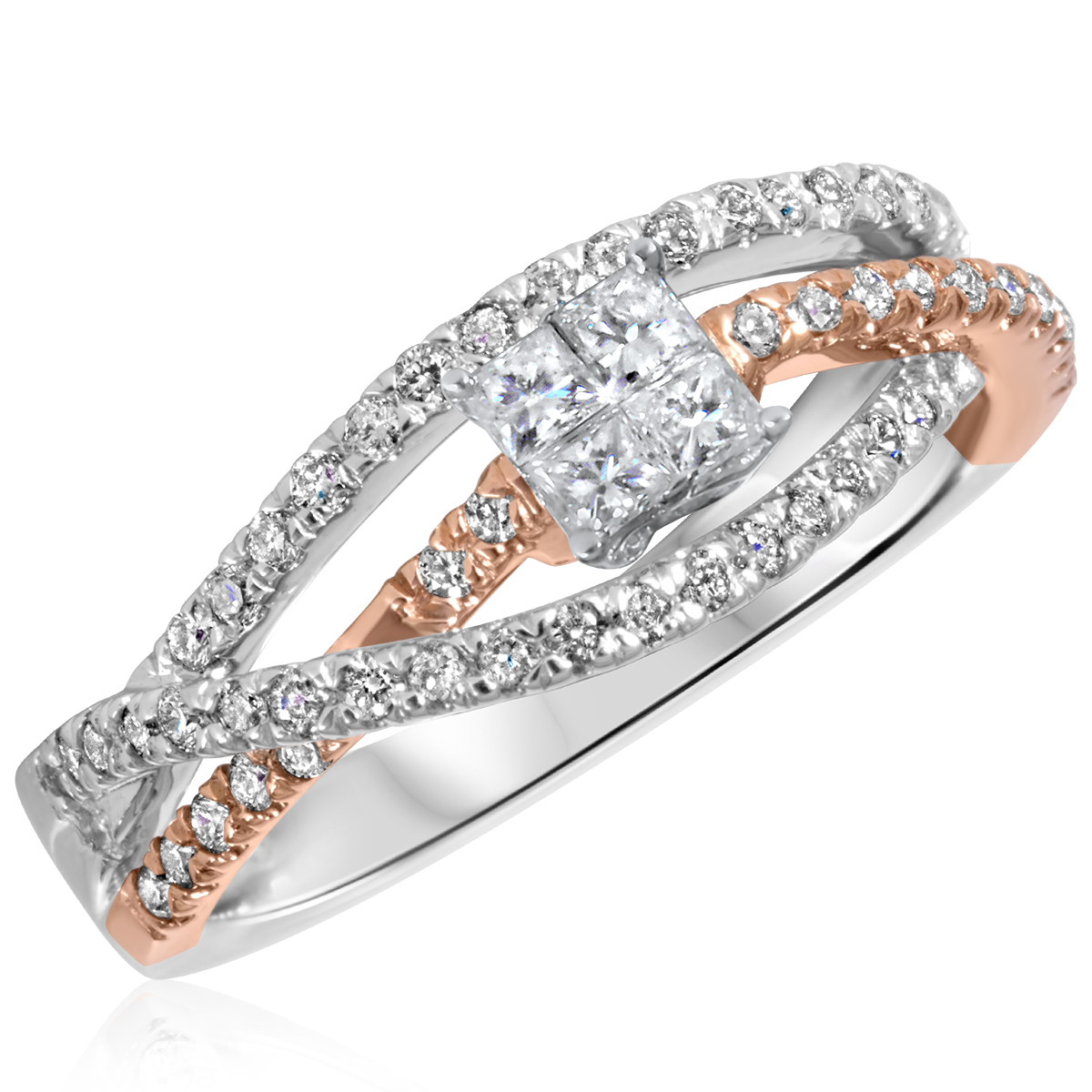 2 3 ct tw diamond women39s bridal wedding ring set 10k for Ladies diamond wedding ring sets