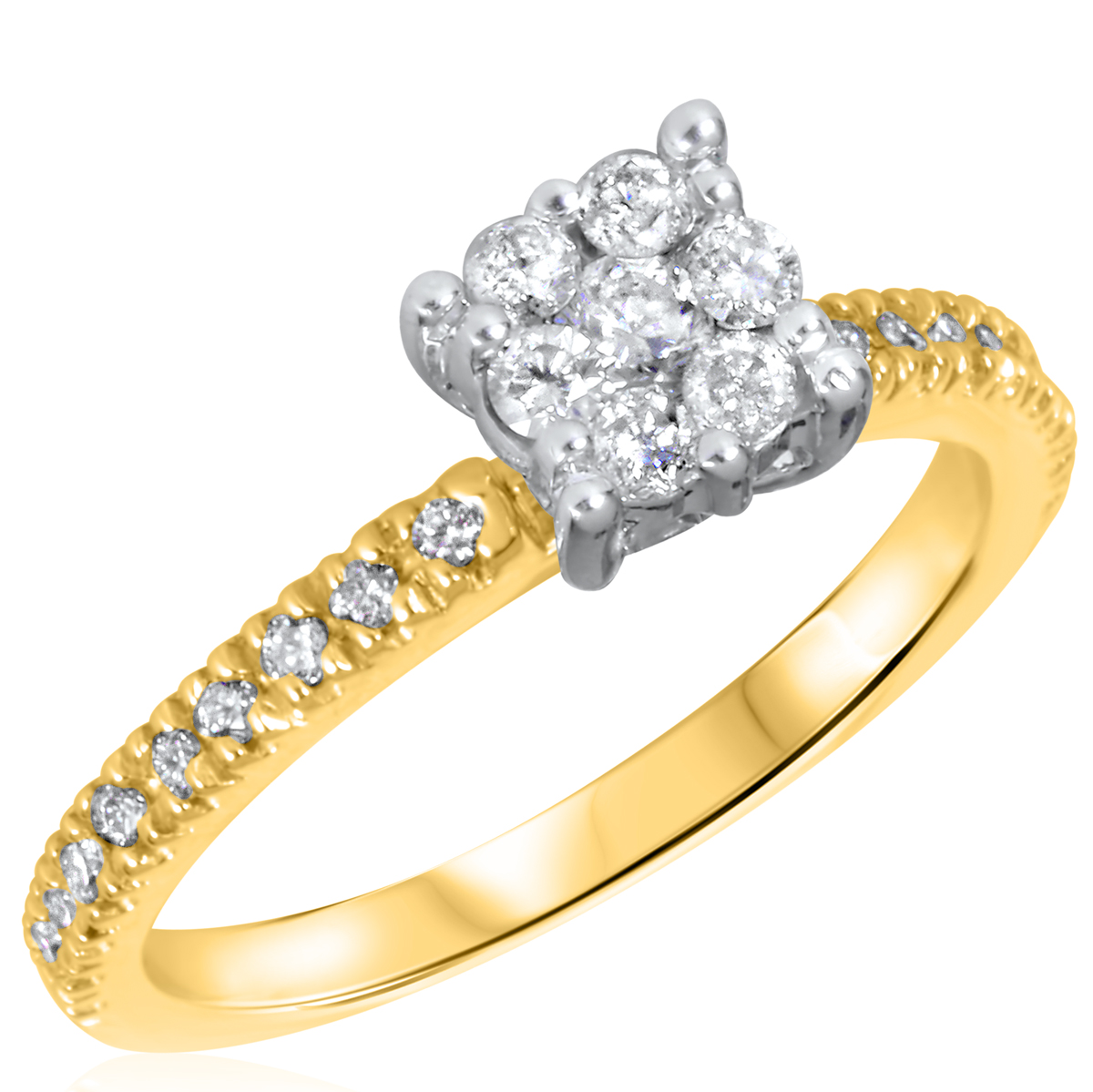 2 3 CT T W Diamond Women s Bridal Wedding Ring Set 10K Yellow Gold
