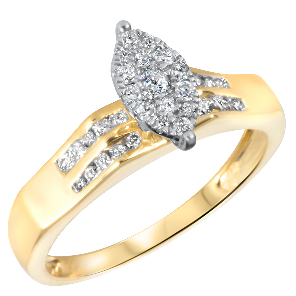 2 3 CT T W Diamond Women s Bridal Wedding Ring Set 14K Yellow Gold