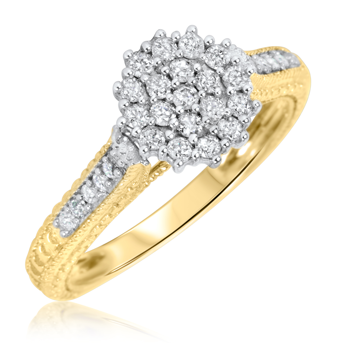 3 4 carat bridal wedding ring set 10k yellow gold