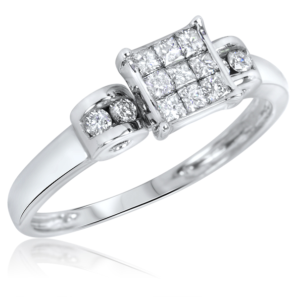Permalink to 10k white gold wedding ring set