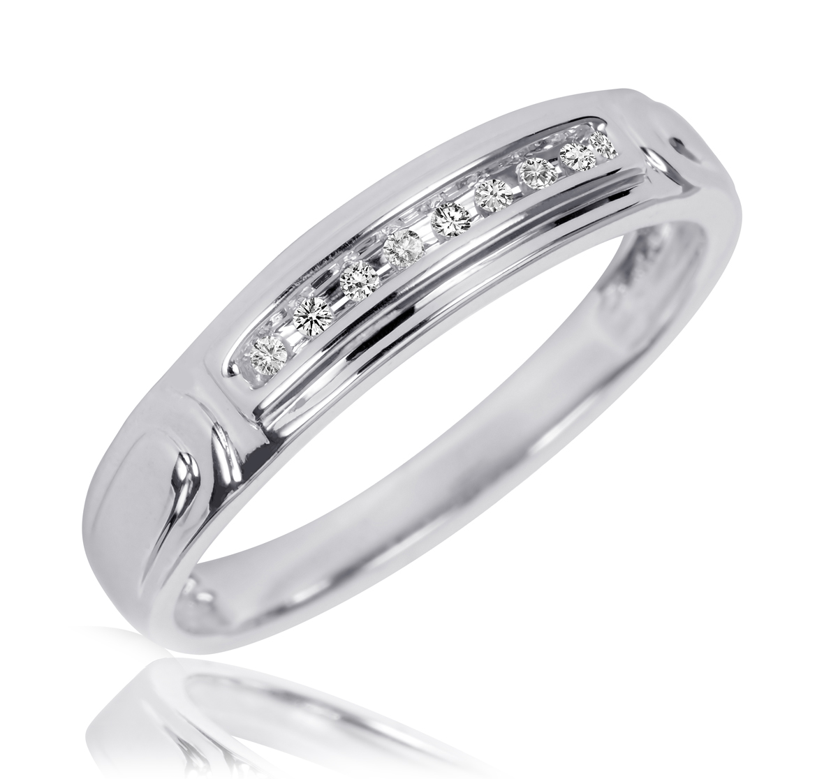 1 10 CT TW Diamond His And Hers Wedding Rings 10K White Gold