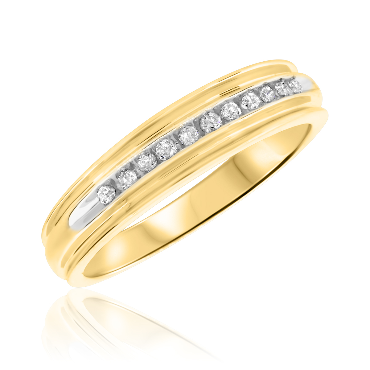 1 3 CT TW Diamond His And Hers Wedding Band Set 14K Yellow Gold