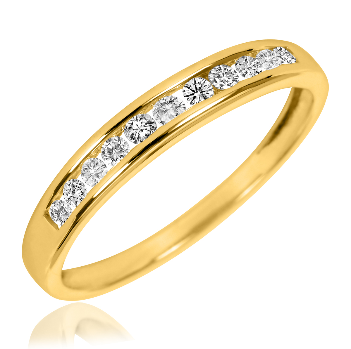 1 CT T W Diamond Women s Bridal Wedding Ring Set 14K Yellow Gold