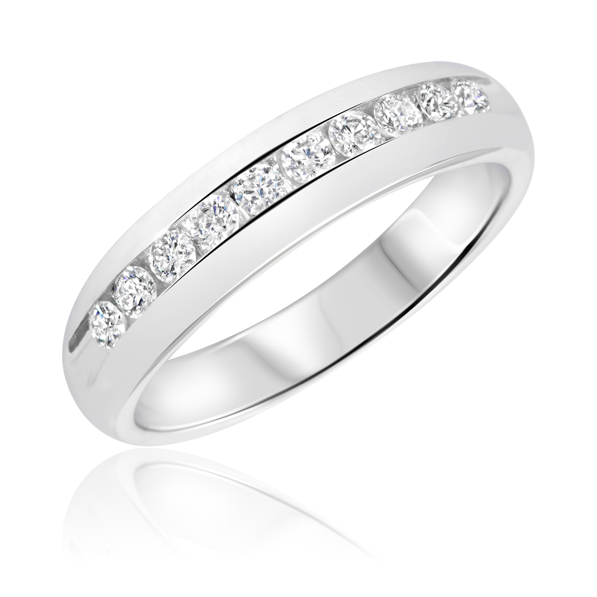 3 4 Carat TW Round Cut Diamond His And Hers Wedding Band Set 14K White Gold