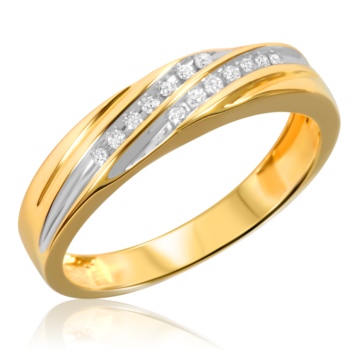 1 2 Carat TW Diamond Trio Matching Wedding Ring Set 10K Yellow Gold