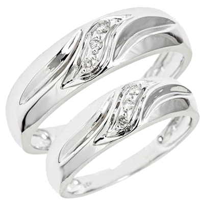 tw diamond ladies and mens wedding set 14k white gold - Elegant Wedding Rings