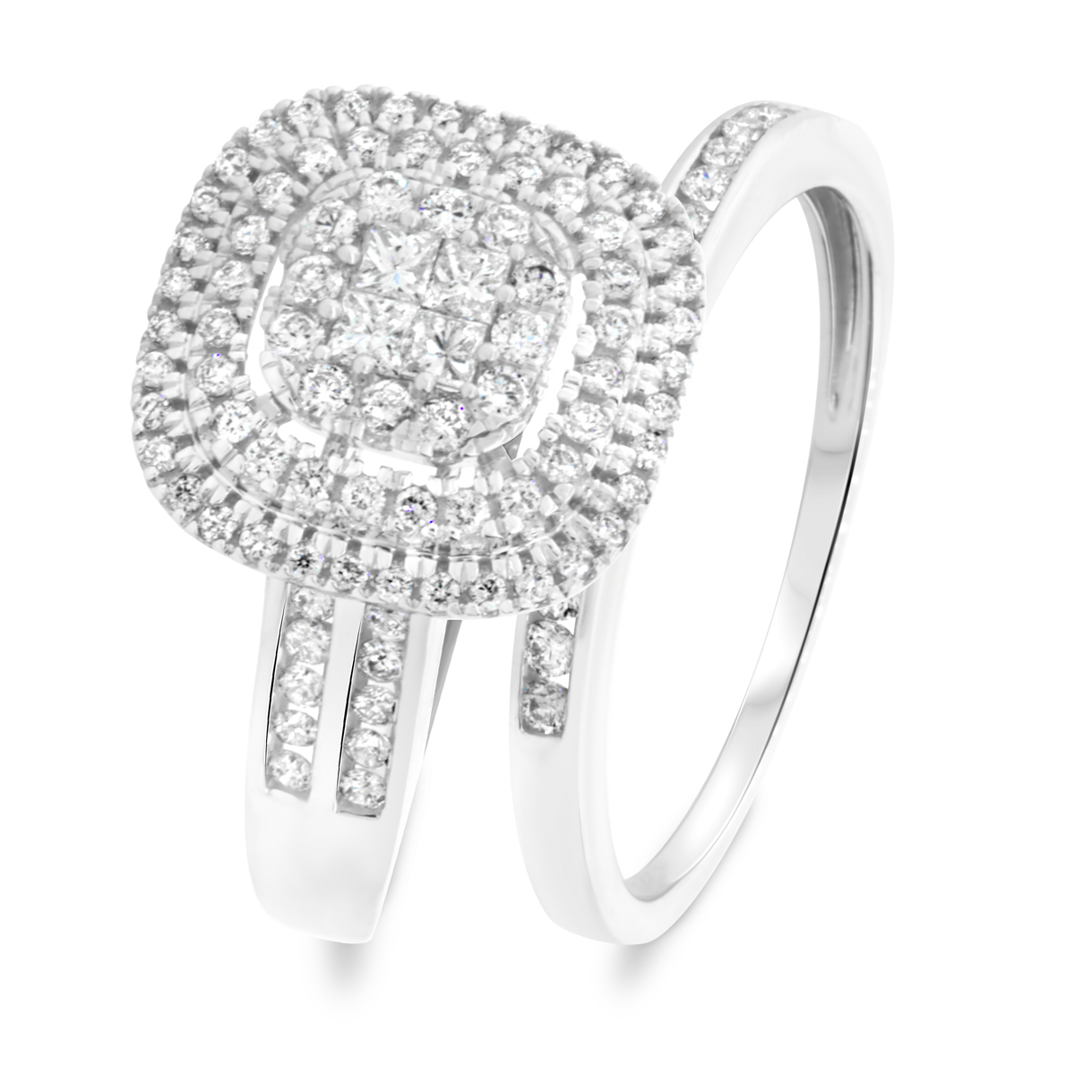 1 1 CT. T.W. Princess Round Cut Diamond Ladies Bridal Wedding Ring Set 14K White Gold BR812W14K